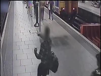 Heart-stopping moment passenger narrowly misses high speed train