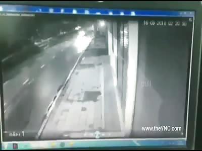 Motorcyclist flies through the air after receiving a car blow