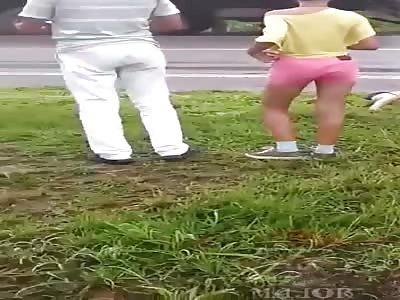 Slip & Slide .. Multiple Car Accident Causes Gore Fest (Action & Aftermath)