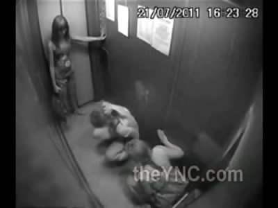 Nasty Drunk Sluts Piss in Elevator