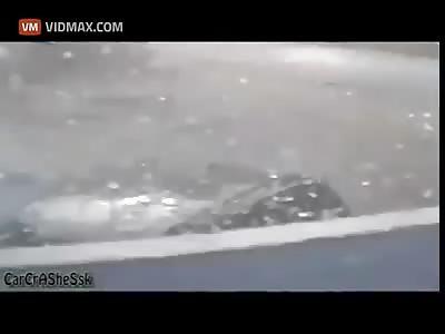 Man Hit By Car Flies Through Pharmacy window.
